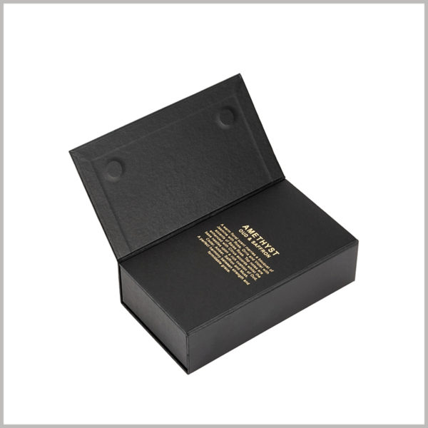 black small cardboard packaging for perfume spray boxes, The two-layer box lid is closed with a suction stone method, which is different from the traditional packaging method.