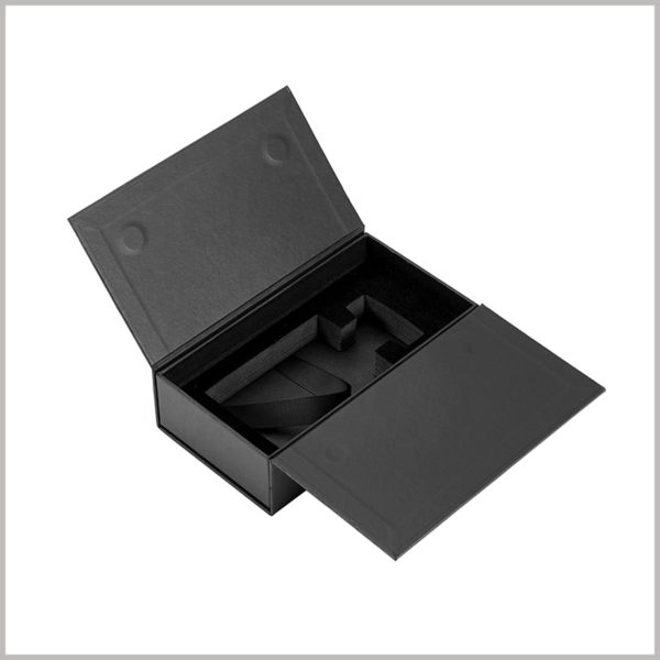black small cardboard perfume spray boxes with eva insert,to ensure that glass perfume bottles are not subject to backlog collision during transportation