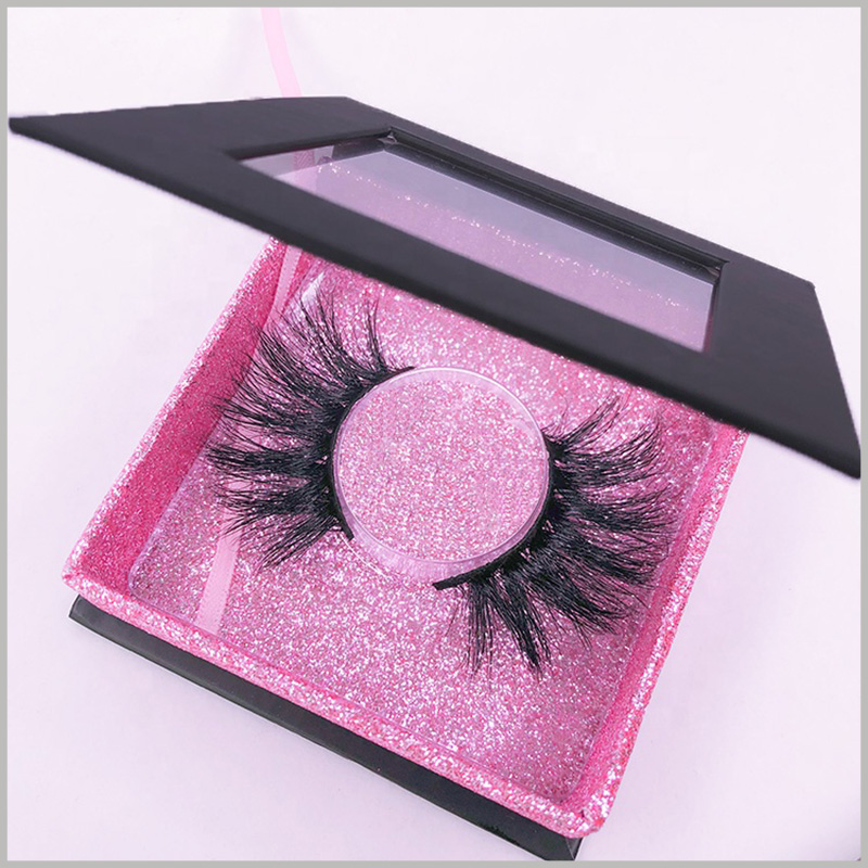 custom black square eyelash boxes wholesale.The symmetrical arrangement of the eyelashes inside the boxes will save more space than the side by side method.