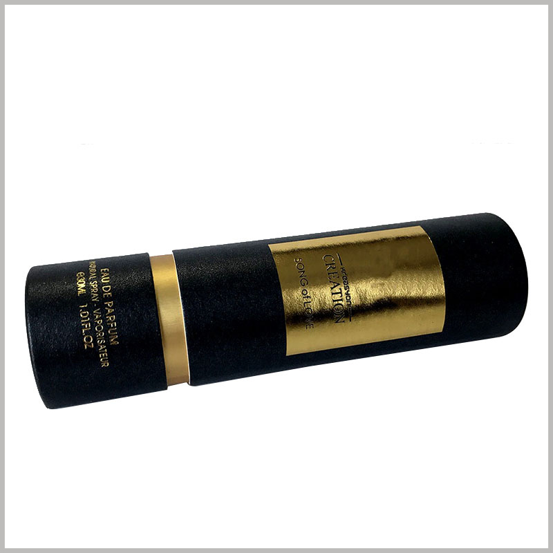 black tube packaging for perfume boxes.The body part of the black paper tube is decorated with gold foil, which improves the value of packaging and products.