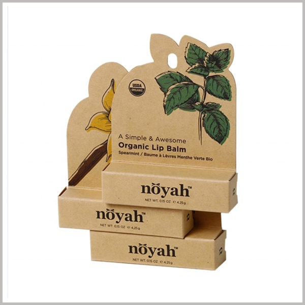 brown eco friendly lip balm packaging boxes. According to the type and characteristics of the lipstick, a specific pattern is printed on the kraft paper packaging.