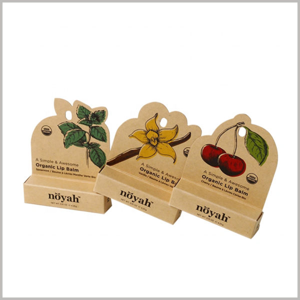 brown eco friendly lip balm packaging boxes wholesale. The unique kraft paper packaging structure design makes the lip balm packaging more attractive and more conducive to product promotion.