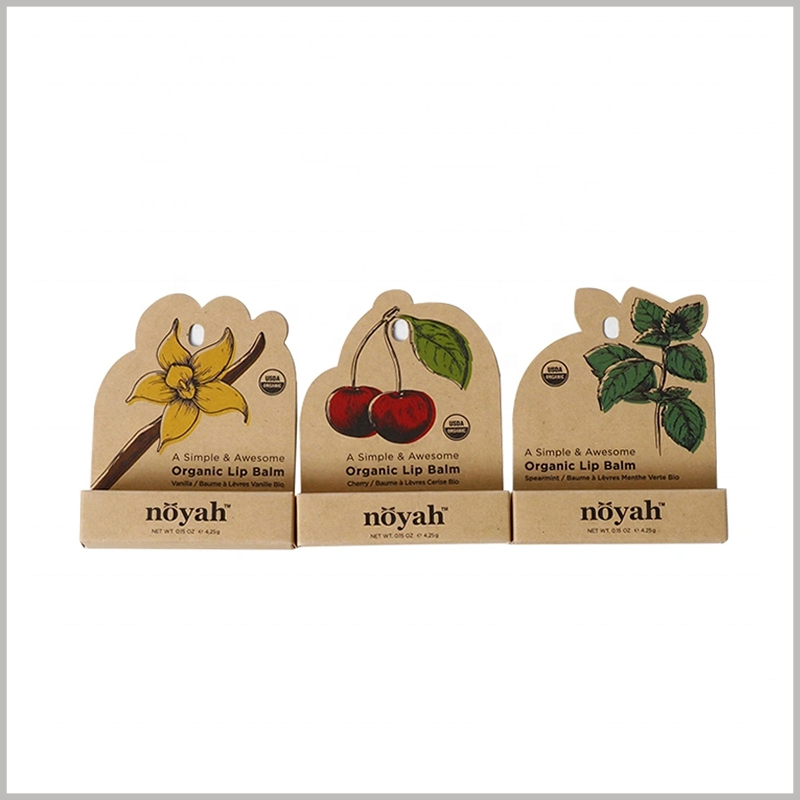 Custom brown eco friendly lip balm packaging wholesale. The unique design of lip balm packaging, using biodegradable kraft paper as a raw material, is very popular.
