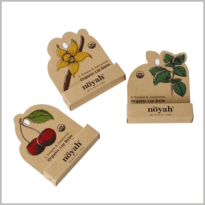 brown kraft paper eco friendly lip balm packaging boxes. Depending on the type of lipstick, such as cherry lipstick, the cherry pattern is printed directly on the front of the kraft paper package.
