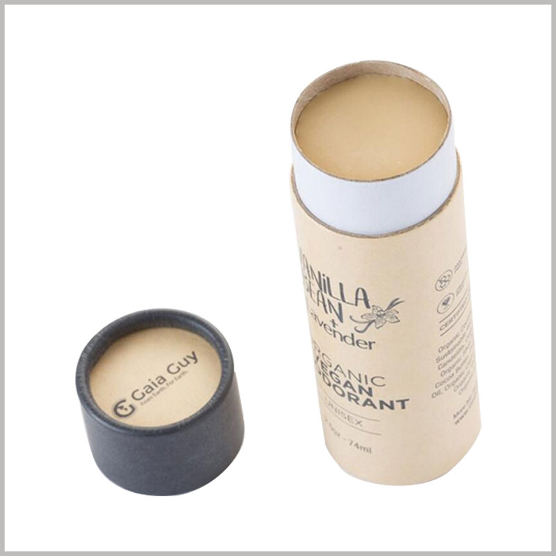 Custom brown kraft paper tube for 74ml deodorant packaging. Custom round box packaging can be used as a deodorant container, and the printing content of the paper tube is related to the product.