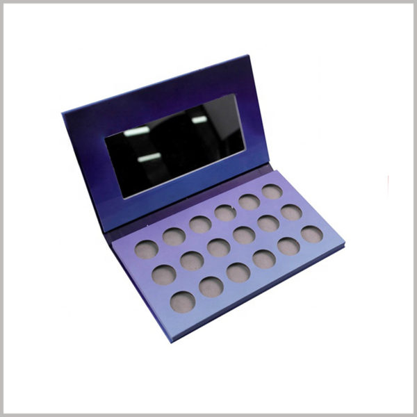 Custom cardboard 18 colors eyeshadow packaging boxes with mirror. Environmentally friendly cosmetic packaging has become a trend that can attract more customers.