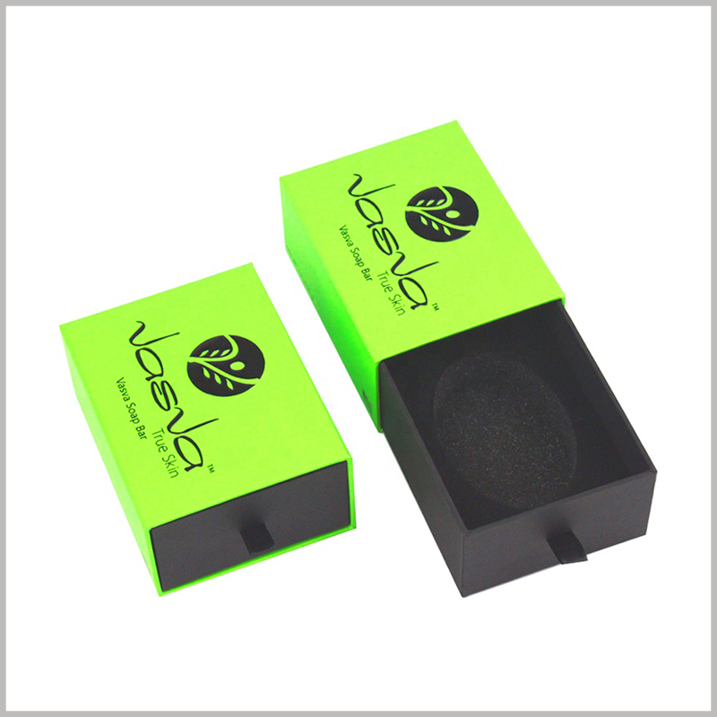 cardboard drawer boxes for per soap packaging. The grass-green packaging outer box theme is in line with the pure green soap product concept.There is black EVA inside the box to fix the soap.