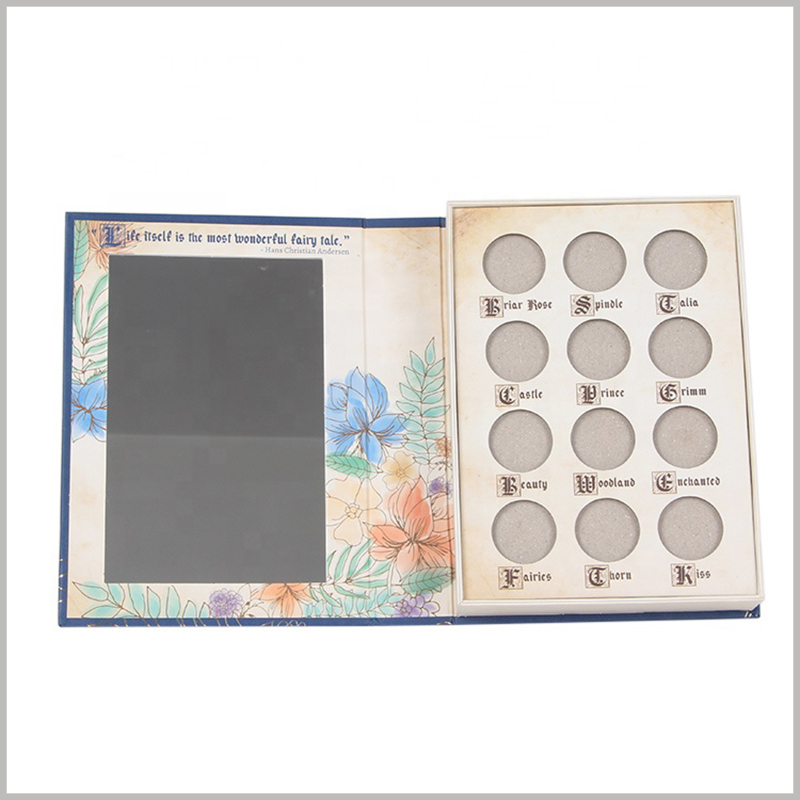 cardboard eyeshadow palette packaging boxes with mirror. A square mirror is set inside the custom packaging to make it easier for customers to use eye shadow.