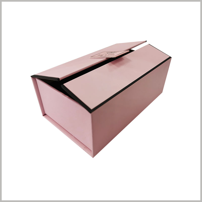 cardboard gift boxes for perfume bottles, The pink cardboard gift box packaging is very sturdy and can protect the products inside the packaging.