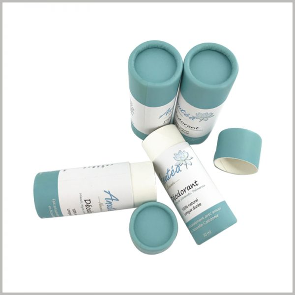 cardboard push up tube packaging for deodorant. The customized tube packaging has unique printed content that can distinguish the product from other brands.