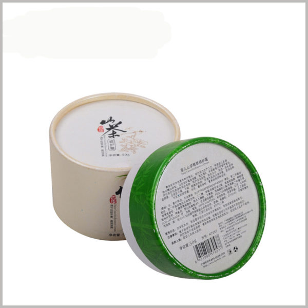 cardboard round boxes for 50g baby skin care products packaging. Detailed product information is printed on the bottom of the cardboard tube package to promote product promotion.
