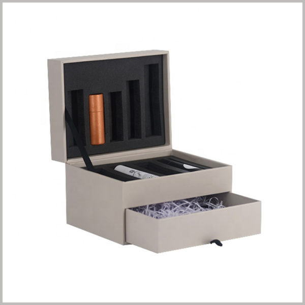 cardboard subscription packaging for lipstick gift boxes, This lipstick gift box package is divided into two layers, the upper layer is a book box structure, and the lower layer is a drawer structure.