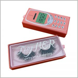 cell phone eyelash packaging box with windows wholesale. Print artistic brand names and related information on PVC windows, and use the brand to increase customers' trust in the product.