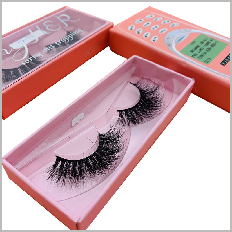 cell phone eyelash packaging box with windows. The blister tray inside the false eyelashes package is provided as a complete set, and you only need to put in the eyelash products to sell.