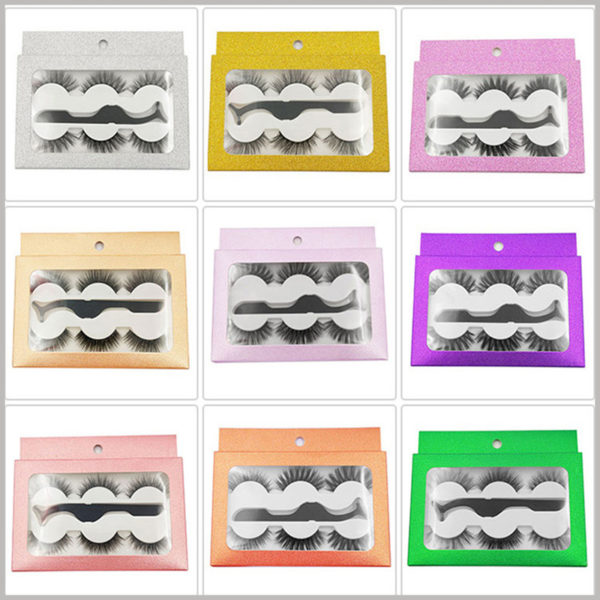 cheap Eyeslash boxes with window for 3-pair pack. Three pairs of shiny eyelashes are available in various colors, gold, purple, white, green lights, various styles of false eyelashes