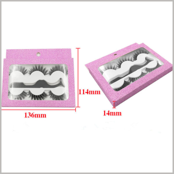 cheap Eyeslash packaging box with window for 3-pair pack. The reference size of the customized eyelash packaging is 136mm × 114mm × 14mm; or the size of the package can be determined according to the actual needs.