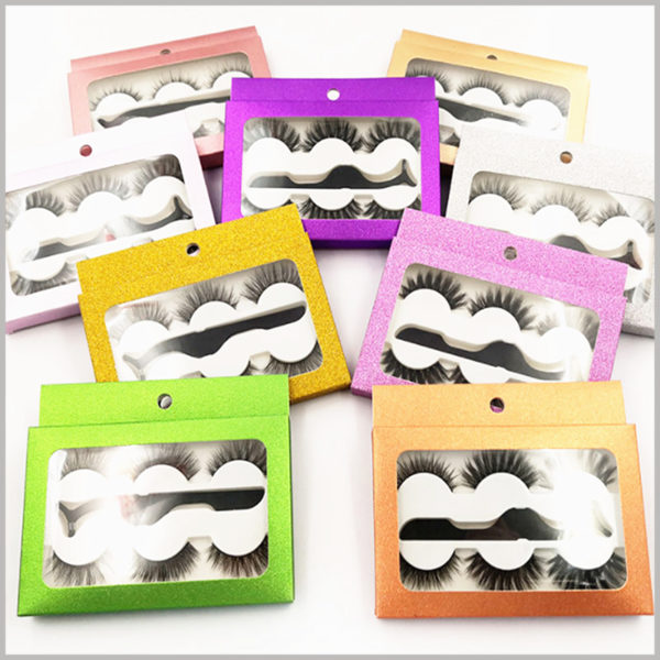 cheap Eyeslash packaging with window for 3-pair pack. The shiny eyelashes package is provided with a hook part, which can hang false eyelashes on the shelf for display.