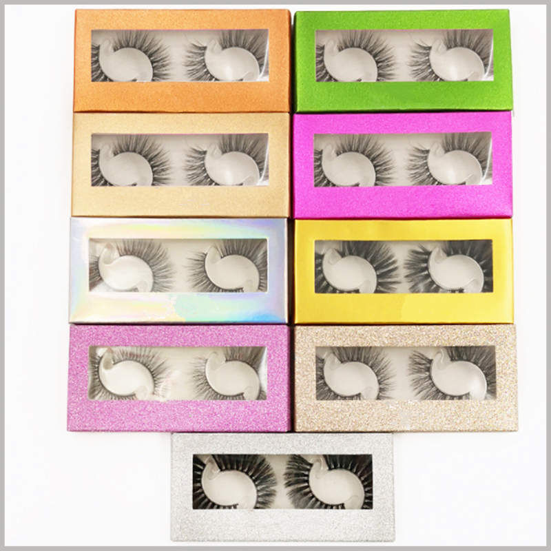 Cheap Foldable False eyeslash packaging with window for pack of 2 pairs.Customized cosmetic boxes are set up with windows to allow products to be better displayed.