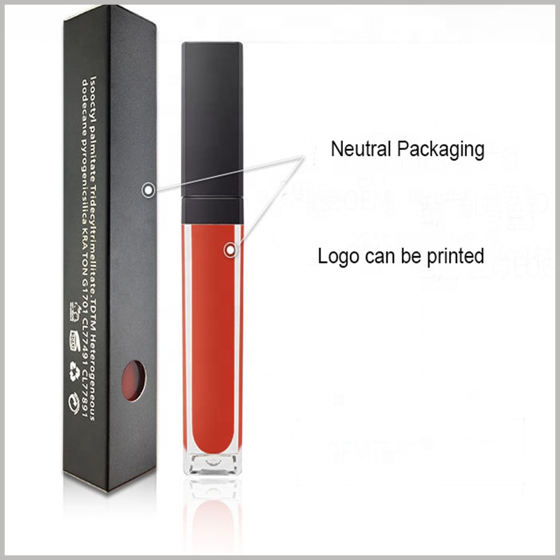 cheap black packaging for single lip gloss boxes. Design a circular gap in the lipstick package, which will become the window, and you can see the color of the lip gloss bottle and lip gloss inside the package.