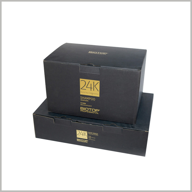 cheap black product boxes for hair mask packaging. The black hair care package has brand information and product information formed by bronzing printing.