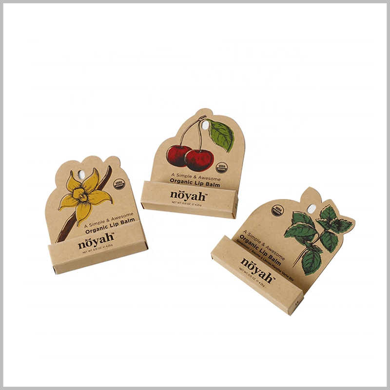 cheap brown eco friendly lip balm packaging boxes. Kraft paper packaging design is simple, but it can intuitively reflect the characteristics of lipstick.