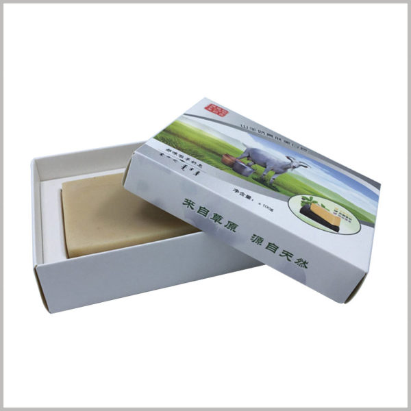 cheap custom printed boxes for soap packaging.The raw material of the customized soap boxes is 350gsm single powder paper, which forms the outer box and the inner cardboard insert.