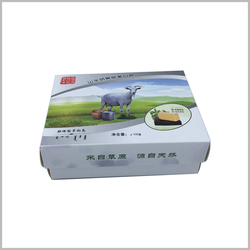 cheap custom printed boxes packaging wholesale. Handmade sheep soap packaging boxes, the main pattern of packaging design is based on raw material patterns.