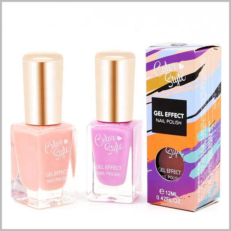 cheap foldable packaging for single nail polish boxes. The color cosmetic box package has a circular hollow window, you can see the nail polish bottle and style inside the package.
