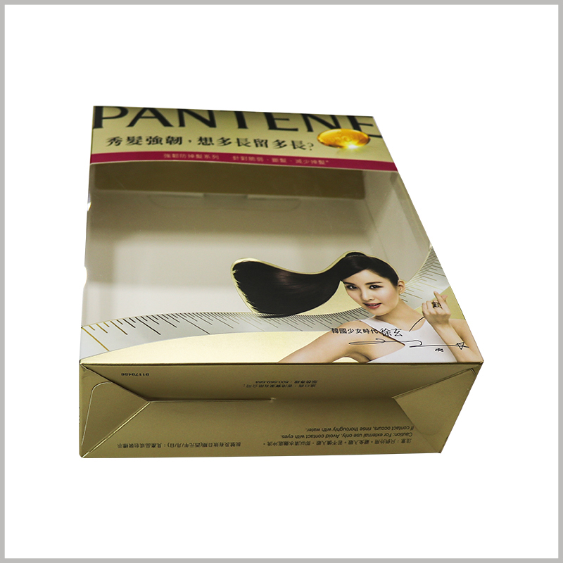 cheap foldable shampoo packaging box with windows. The clever packaging design allows the shampoo packaging to be folded, which will reduce the space occupied by the packaging when it is empty, and is conducive to transportation and storage.