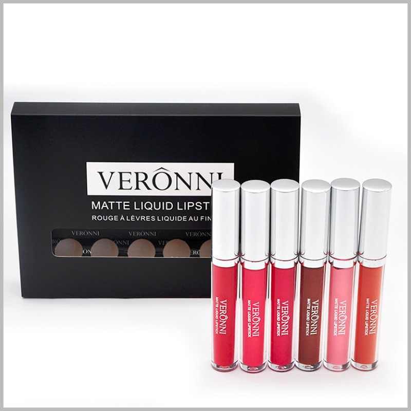 cheap lip gloss packaging with windows hold 6 bottles. The size of the lip gloss packaging is determined by the product's capacity and the characteristics of selling 6 lip glosses at one time, which fully meets the needs of lip gloss products.