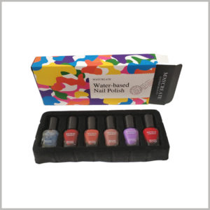 cheap printed boxes for 6 bottles of nail polish packaging. The black blister packaging is used as an insert in the box to fix and protect the nail polish glass bottle.