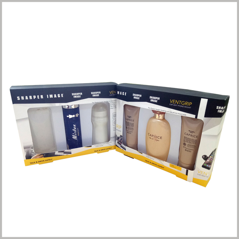 cheap shampoo packaging boxes with windows wholesle. The custom packaging has a white blister packaging inside, which can fix a variety of different products.