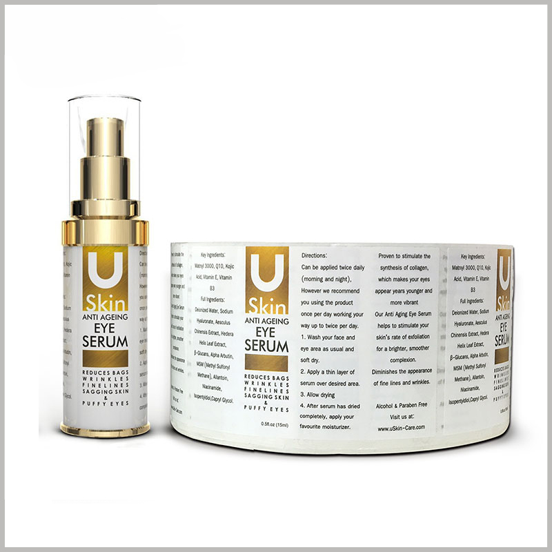 cheap skin care product labels custom.Customized label content can improve the targeted promotion of products and reflect the characteristics of skin care products.