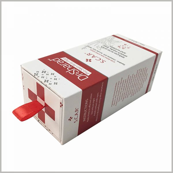 cheap small cardboard boxes with CMYK printing,Packaging style of cardboard drawer boxes, pull the red silk towel to open the package.