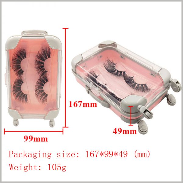 clear Eyelash packaging box travel case style for two pairs