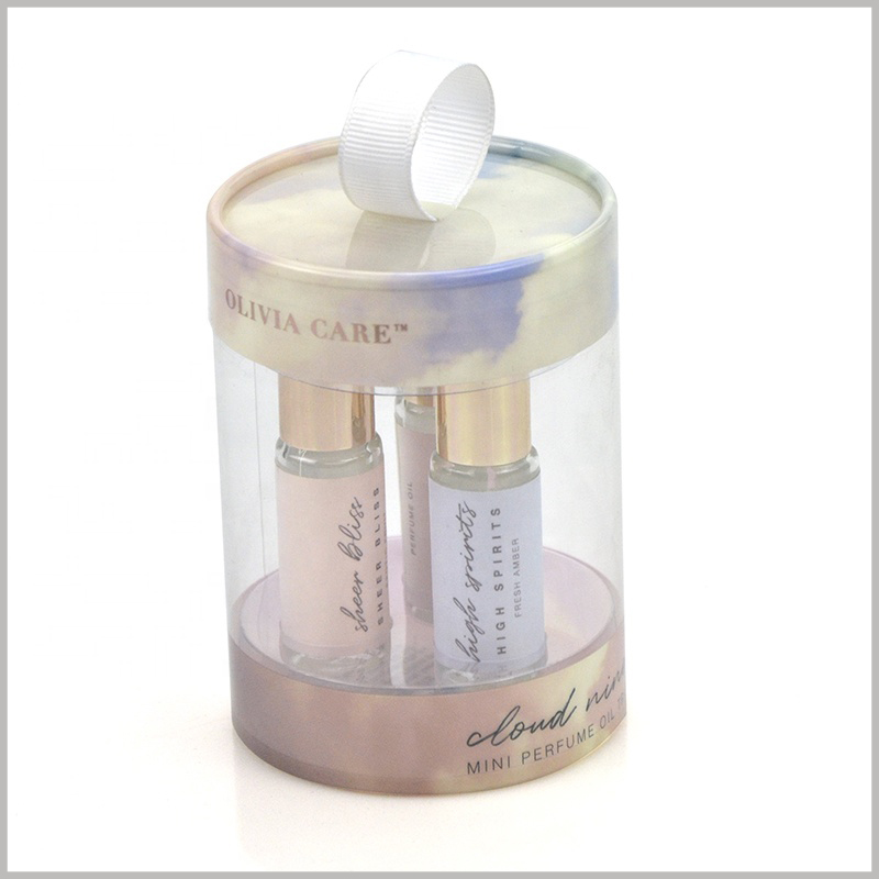 clear plastic tube packaging for perfume boxes. Necessary information, such as perfume brand, perfume model and capacity, can be printed directly on the paper cover of the transparent tube.