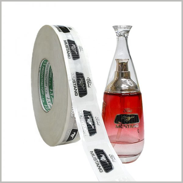 clear printed labels for perfume bottle. When the custom labels are not in use, they are stored in rolls, which can be stored in an orderly manner in a very space-saving manner.