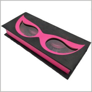 creative black cardboard boxes for eyelash packaging, Black cardboard package with clear window shaped like eyes