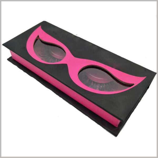 creative black cardboard boxes for eyelash packaging, Black cardboard package with clear window shaped like eyes