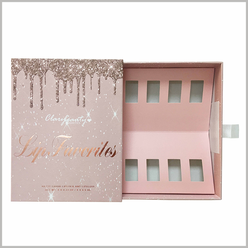 creative boxes for cosmetic lip gloss packaging. The top of the customized packaging has a liquid pattern similar to pink gold lip gloss, and customers will be deeply impressed by the product.