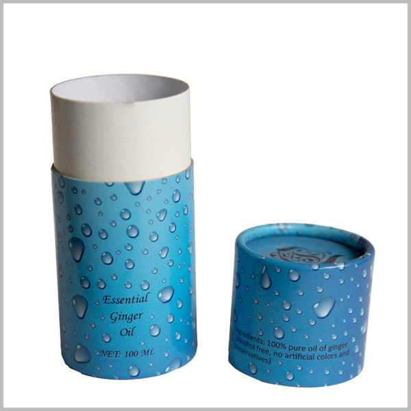 Custom creative cardboard tube boxes for 100ml ginger essential oil packaging. With the pattern of small water droplets, the overall packaging elements are rich and harmonious.