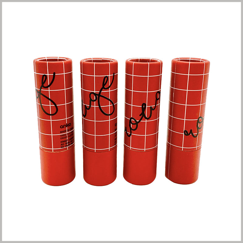 creative eco friendly lipstick tubes packaging. CMYK printing is easier to use in paper tubes, and this unique paper tube packaging design attracts customers' attention.