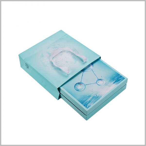 creative packaging for skin care product boxes.It is necessary to match the customer with a handbag for carrying skin care products. We can provide you with skin care boxes and handbags with consistent packaging design.