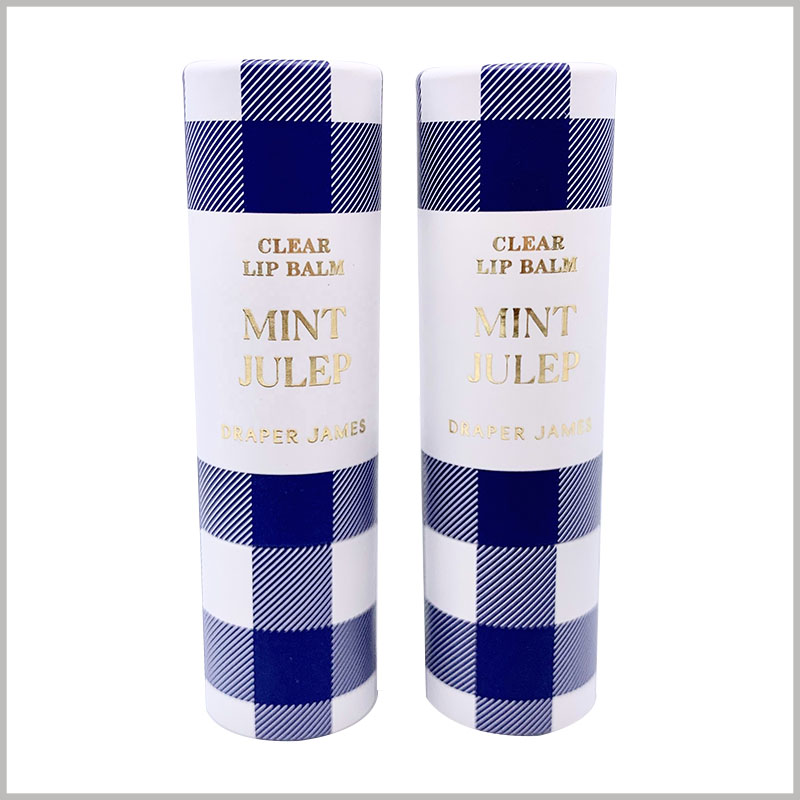 creative paper empty lipstick tubes packaging. The pattern of the empty lipstick tube is similar to the cloth pattern and has a good visual effect. Brand information and product information are printed by bronzing.