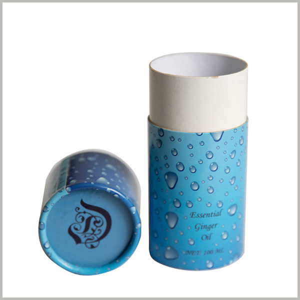 creative printed cardboard tube for 100ml ginger essential oil packaging. The blue paper tube has a brand logo printed on the top cap, which gives the product brand value and increases the credibility of the product.