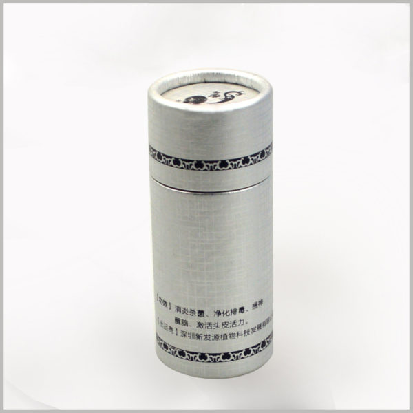 creative printed paper tubes for 10ml hair oil packaging.The small diameter paper tube packaging has a silver background, which gives consumers a sense of luxury packaging to a certain extent.