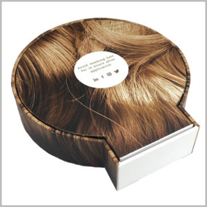 creative product packaging for hair extensions.The entire cardboard wig boxes are like brown hair and have a unique appeal.