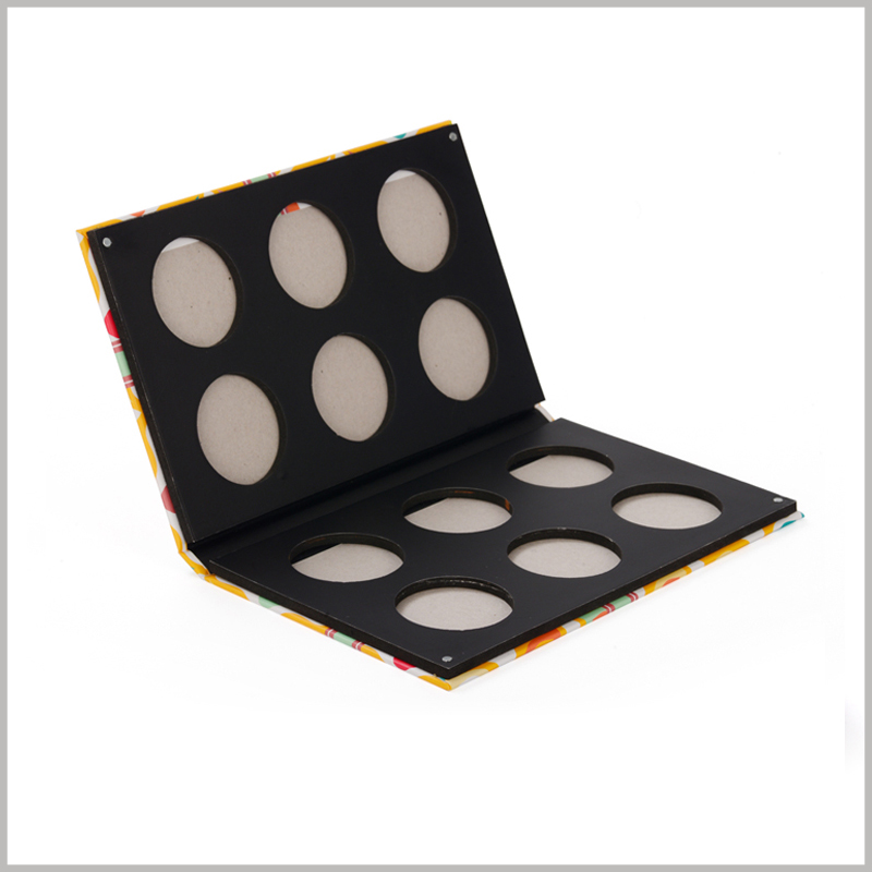 custom 12-color eyeshadow packaging with double-sided distribution. This is an empty eyeshadow palette package, you only need to embed the eyeshadow tray into the box to sell the product.