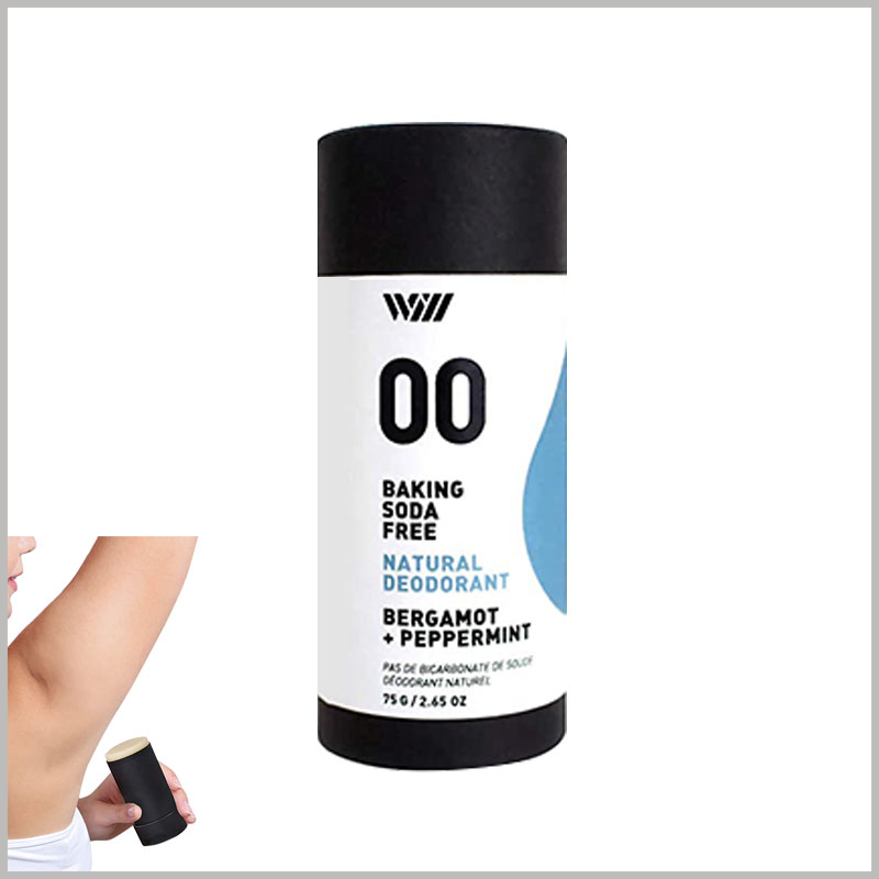 custom 75g peppermint deodorant packaging box with printing. Printing the characteristics of the deodorant on the customized tube packaging, such as the specific fragrance, composition and use method, can promote the product better.