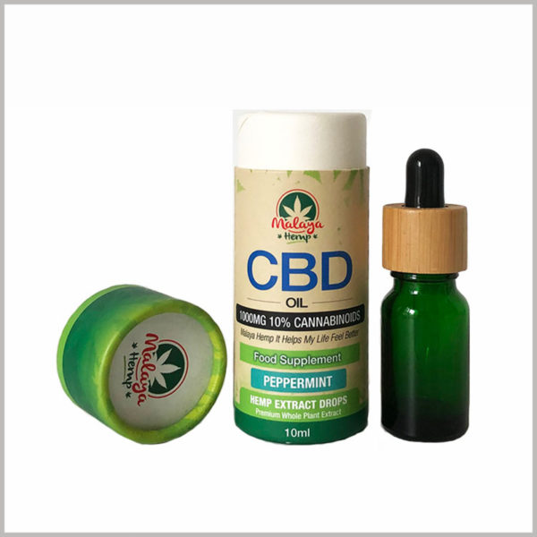 custom CBD essential oil packaging tubes, The whole is made of thick coated paper, and the hard shell can ensure that the glass bottle body and rubber dropper are not squeezed by the outside world.